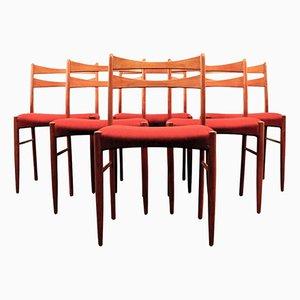 Dänische Vintage Teak Esszimmerstühle in Weinrotem Bezug, 6er Set