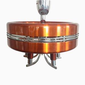 Lámpara de suspensión de aluminio naranja, años 70