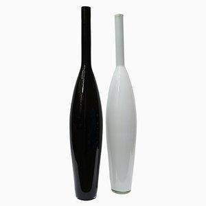 Botellas italianas vintage grandes de cristal de Murano, años 70. Juego de 2