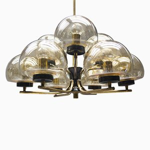 Italian Pendant with Nine Smoked Glass Globes and Brass, 1960s
