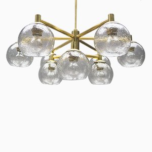 Brass Vintage Chandelier with Nine Glass Spheres, 1960s