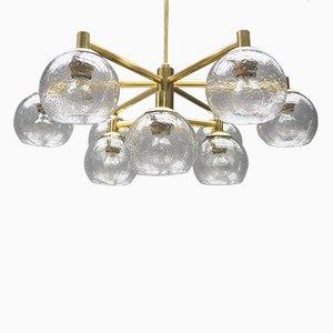 Lámpara de araña vintage de latón con nueve esferas de vidrio, años 60
