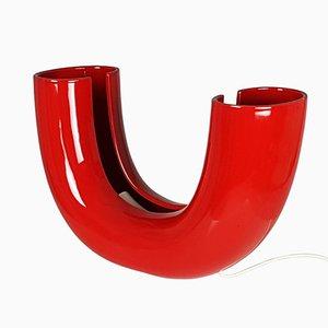 Lámpara de mesa Tubo roja de Tomoko Tsuboi Ponzio para Ceramica Franco Pozzi, 1968