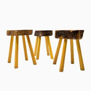 Taburetes franceses vintage de madera, años 60. Juego de 3