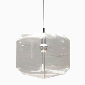Lámpara colgante Bali de vidrio claro de Bruno Munari para Danese, años 60