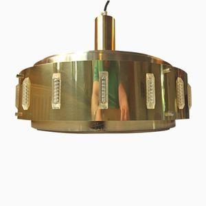 Lámpara colgante danesa Mid-Century de latón de Werner Schou para Coronell, años 60