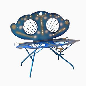 Panca Mariposa in acciaio di Riccardo Dalisi per Zanotta, anni '80