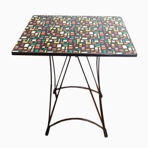 Tavolo multicolore con base Eiffel, anni '50