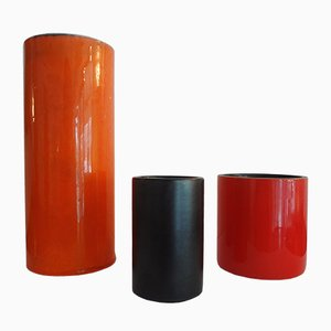 Cylindrical Vases by Georges Jouve, 1950s, Set of 3