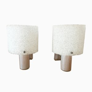 Textured White Wall Lights, 1950s, Set of 2
