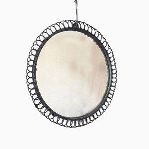 Espejo floral redondo de metal, años 70