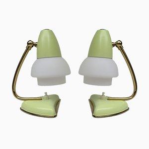 Gelbe Italienische Tischlampen, 1950er, 2er Set