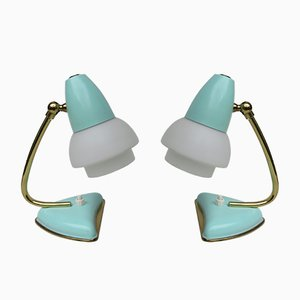 Italian Mint Green Table Lamps, 1950s, Set of 2