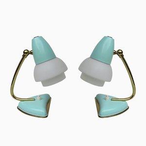 Lámparas de mesa italianas verde menta, años 50. Juego de 2