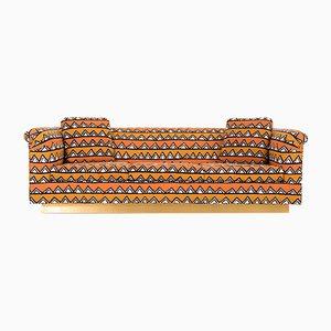 Vintage Rounded Barrel Back Brass Platform Sofa by Richard Himmel
