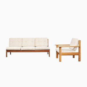 Vintage Danish Cherry Sofa & Chair from Knoll