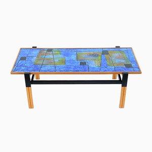 Table Basse Mid-Century avec Plateau Émaillé avec Décorations Abstraites, Italie, 1950s