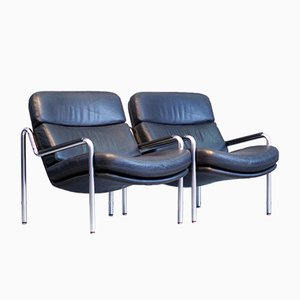 Black Leather Easy Armchairs by Jørgen Kastholm for Kusch, 1970s, Set of 2
