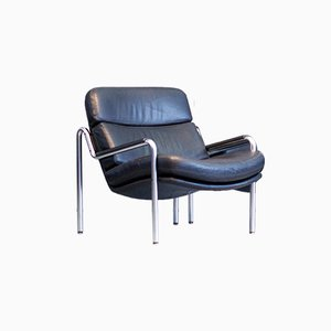 Black Leather Easy Armchair by Jørgen Kastholm for Kusch, 1970s