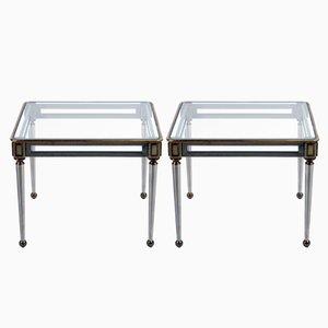 Tavolino Mid-Century in acciaio e ottone, Italia, set di 2