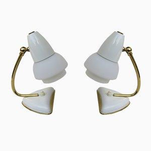 Lámparas de mesita de noche italianas en blanco, años 50. Juego de 2