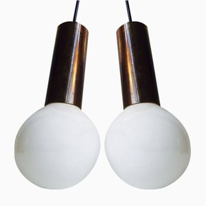 Lampes à Suspension Mid-Century à Globe Simple en Laiton par Frimann, 1960s, Set de 2