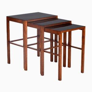 Tavolini a incastro H-50 di Jindrich Halabala per Spojene UP Zavody, anni '30