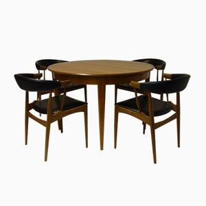 Mesa de comedor con 2 extensiones y 4 sillas de Brdr. Andersen, 1966