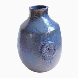 Blaue Mid-Century Keramikvase von Kildahl