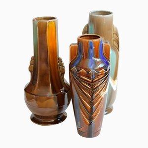 Vases Art Déco d'August Mouzin et Cie, 1930s, Set de 3