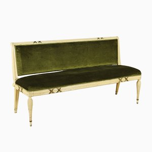 Mid-Century Italian Wood & Velvet Sofa