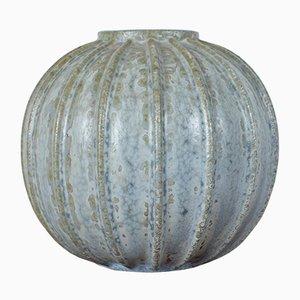 Vertikal Geriffelte Mid-Century Keramik Vase von Arne Bang