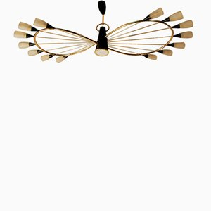 Lámpara de araña francesa Mid-Century modernista de latón de Arlus