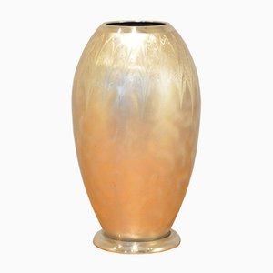 Deutsche Art Deco Ikora Vase aus Gebürstetem Metal von WMF