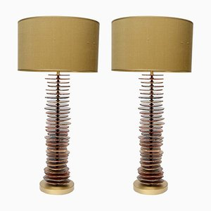 Brass & Agate Table Lamps by Glustin Luminaires, Set of 2