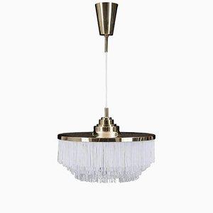 Lámpara colgante de latón con flecos de seda de Hans-Agne Jakobsson, 1963