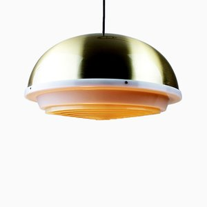 Lámpara colgante era espacial de latón con cuadrícula blanca de Lyfa, años 60