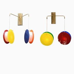Applique in ottone e plexiglas di Diego Mardegan per Glustin Luminaires, set di 2