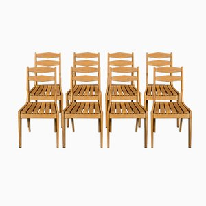 Sedie in legno di quercia chiaro massiccio di Guillerme et Chambron per Votre Maison, anni '60, set di 8