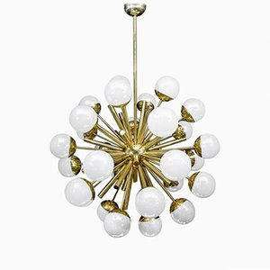 Brass Sputnik Chandelier with Iridescent Murano Glass Globes by Glustin Luminaires