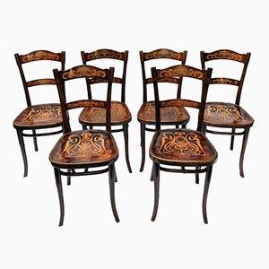 Chaises de Salon Antiques Décorées en Bois Courbé de Thonet, Set de 6
