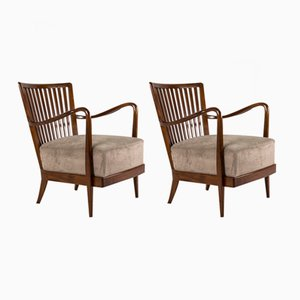 Italian Wooden Armchairs, 1950s, Set of 2
