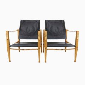 Black Leather Safari Armchairs by Kaare Klint for Rud. Rasmussen, 1950s, Set of 2