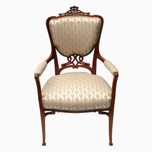 Art Nouveau Mahogany Armchair with Viennese Upholstery