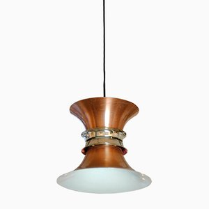 Lámpara colgante danesa de cobre, años 60