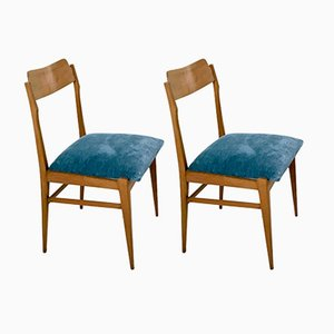 Italienische Stühle aus Teak & Samt, 1950er, 2er Set