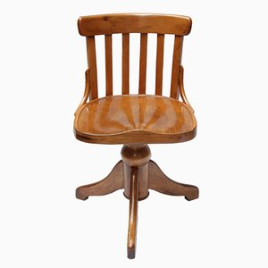 Antique Beech Wood Swivel Chair