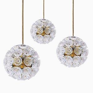 Lampadari floreali in vetro e ottone, anni '60, set di 3