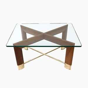 Table Basse en Noyer & Verre, Italie, 1970s