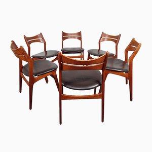 Modell 310 Stühle mit Ledersitz von Erik Buch für Chr. Christiansen, 1950er, 6er Set